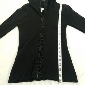 D&Y Sweaters - D&Y Size Medium Black Beaded Silk Blend Sweater
